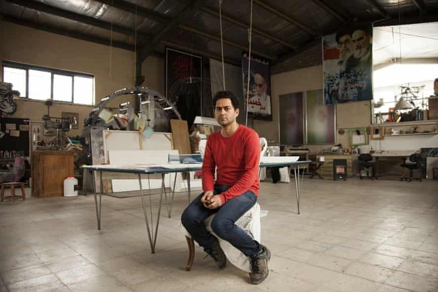 Mahmoud Bakhshi, 38, is inspired by the rich iconography of the post-revolution and objects he finds. Islamic symbols are mixed with industrial and urban imagery to make a statement. In one landmark show in Tehran, he displayed a series of Iranian flags blackened by pollution. In his early days, he hoped his art would have the power to bring about change.
