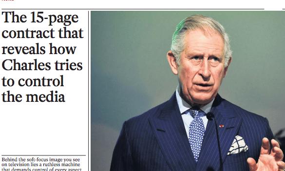 The Independent's revelation of Prince Charles's media censorship.