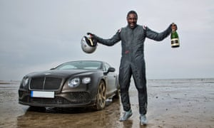 Elba breaks the 'Flying Mile' UK land speed record in May 2015.