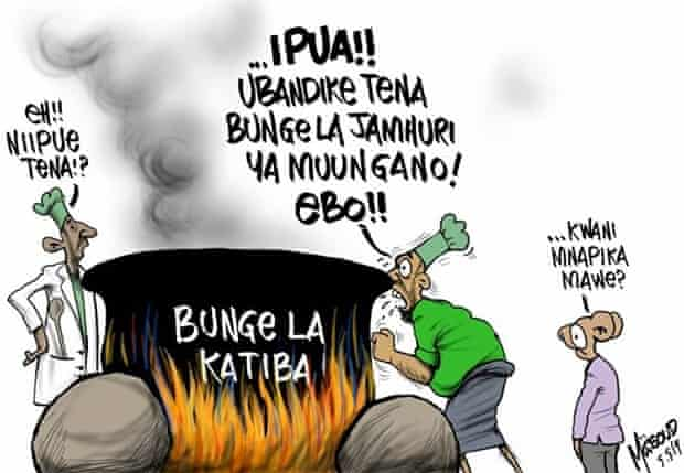 One of Masoud's cartoons depicting Tanzania's ongoing debate on constitutional amendments