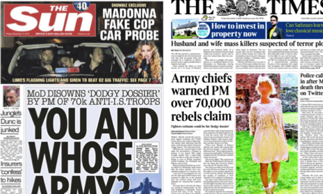 The front pages of the Sun and the Times.
