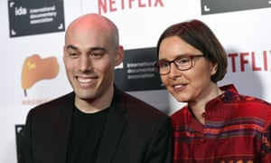 The Look of Silence director Joshua Oppenheimer and producer Signe Byrge Sorensen at the 2015 IDA Documentary Awards at Paramount Studios