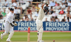 South Africa's Hashim Amla blocks a delivery with his pads on the final day of the first Test against England at Lord's in 2008.