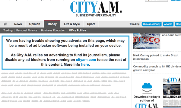 City AM's message to users with adblockers.