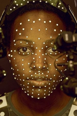 Lupita Nyong'o covered in CGI tracking dots while filming Star Wars: The Force Awakens