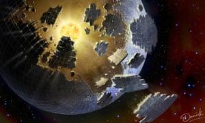 Artist's impression of an alien megastructure around a distant star