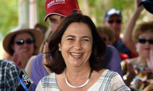 Annastacia Palaszczuk address supporters in the suburb of Burpengary in Brisbane's north on Sunday.