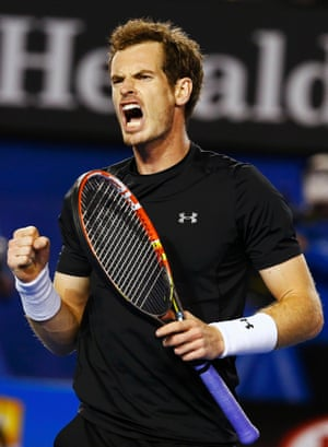 Andy Murray reacts after hitting back.