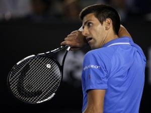 Novak Djokovic, under pressure.