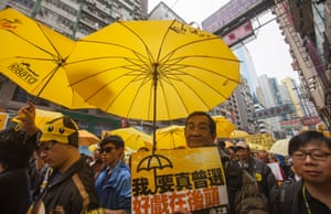 A sea of yellow umbrellas brought colour to Hong Kong's streets during the demonstration.
