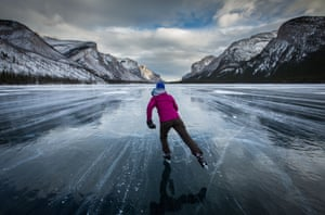 Skating on Lake Minnewanka, with methane gas underneath the ice. The gas - emitted by bacteria after they consume dead organic matter - is fairly harmless but these bubbles can cause an explosion if lit
