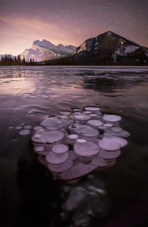 Methane gas bubbles in Vermillion Lake - normally the bubbles would break the surface but in freezing temperatures, the bubbles become frozen