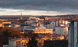 Bristol skyline with late afternoon sun in winter, UK.