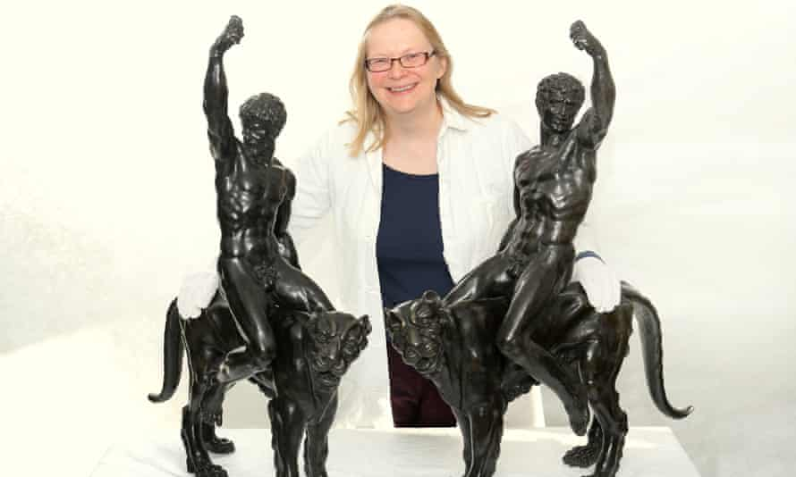 Victoria Avery of the Fitzwilliam Museum, Cambridge, with bronzes attributed to Michelangelo