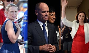 Kate Jones (left), who retook the seat of Ashgrove from a sitting premier, Campbell Newman (centre) and Labor leader Annastacia Palaszczuk celebrates the Queensland election rout. Photograph: AAP
