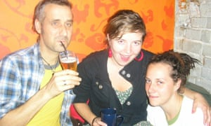 The author, far left, with friends met while couchsurfing.
