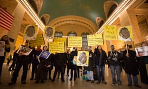 Protest at Grand Central commemorating the death of Michael Brown