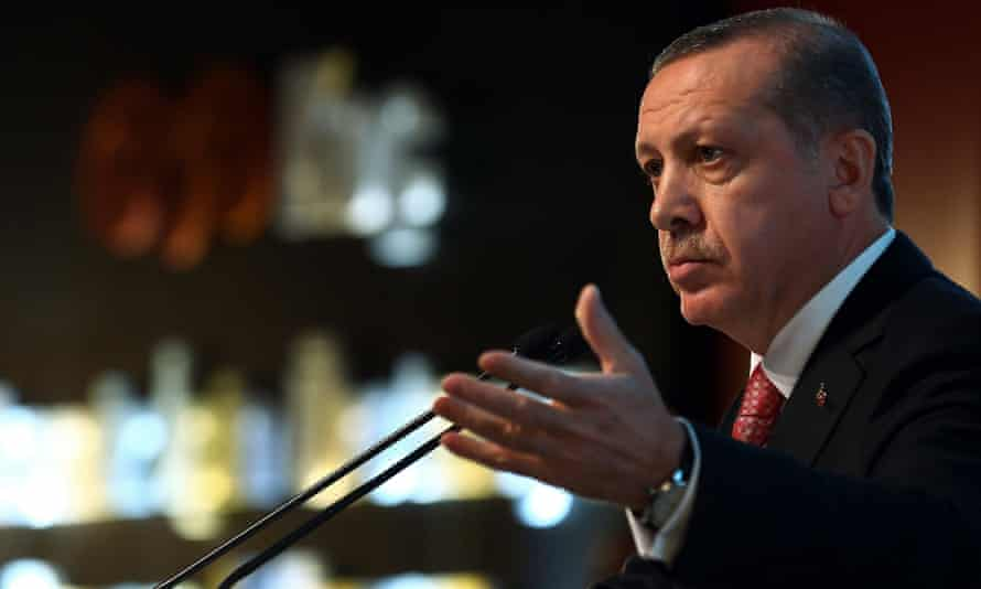 Turkish President Recep Tayyip Erdogan speaks during a ceremony in Kocaeli, Turkey. He has famously dismissed Twitter but has no succumbed to sending his first tweet