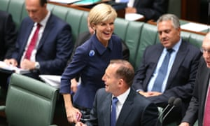 The Prime Minister Tony Abbott with Foreign minister Julie Bishop during question time in the House of Representatives this afternoon, Tuesday 10th February 2015.