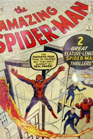 A first issue of The Amazing Spider-Man comic book, showing Spidey alongside fellow superheroes.