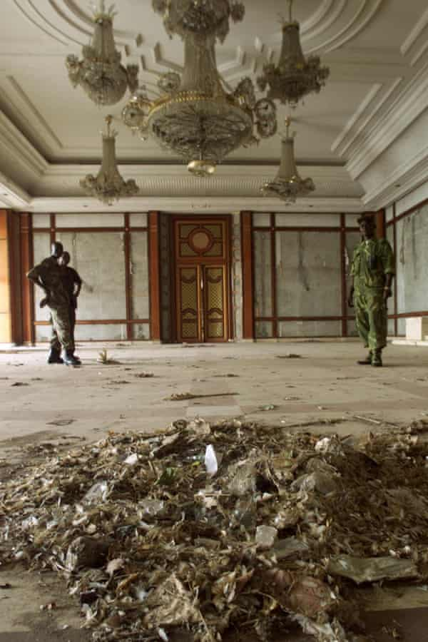 Government soldiers inside Mobutu's Gbadolite palace in 2001.