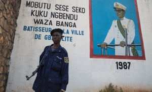 The mural of President Mobutu outside the mayor's office in Gbadolite.