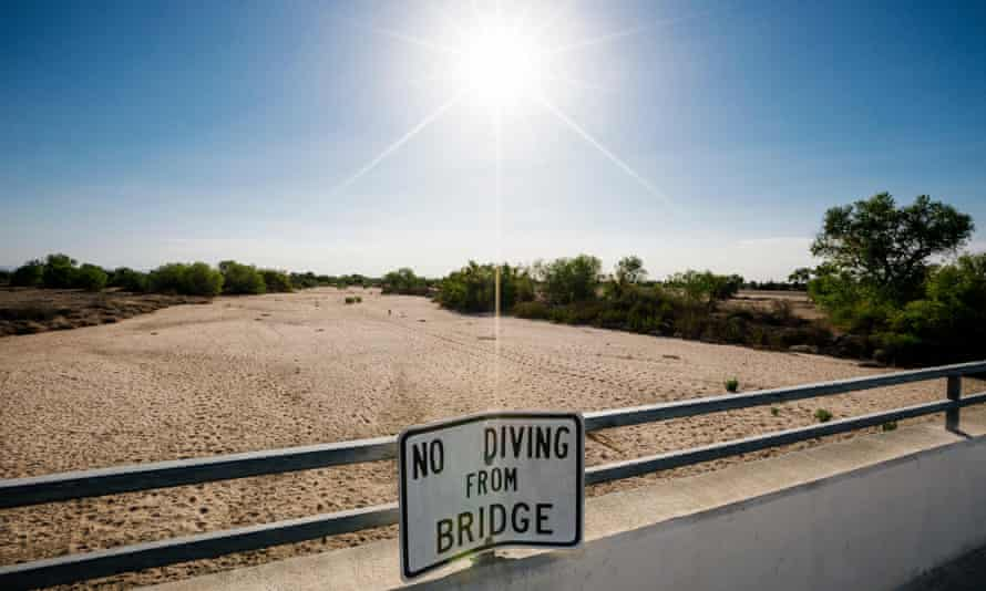 Dried up Kern River in California