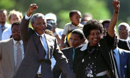 Nelson Mandela and his wife, Winnie, moments after his release from Victor Verster prison on 11 February 1990.