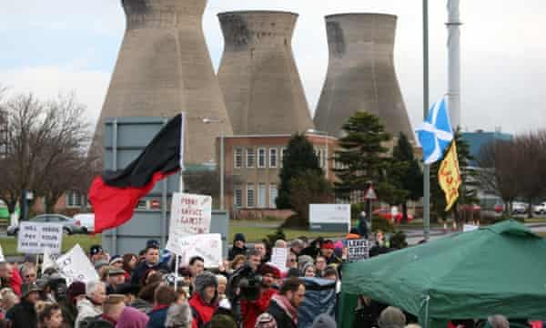 Anti-fracking protesters gather outside Ineos plant in Grangemouth