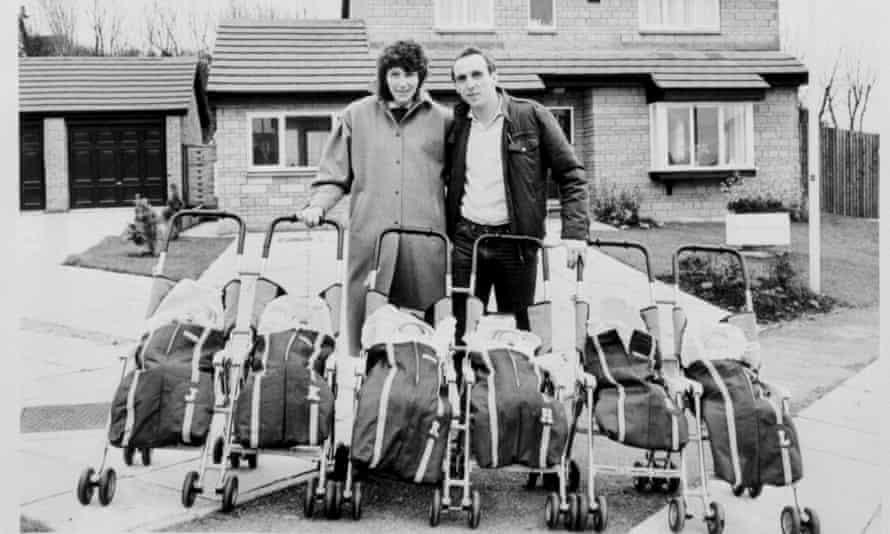 Janet Walton with babies and husband Graham