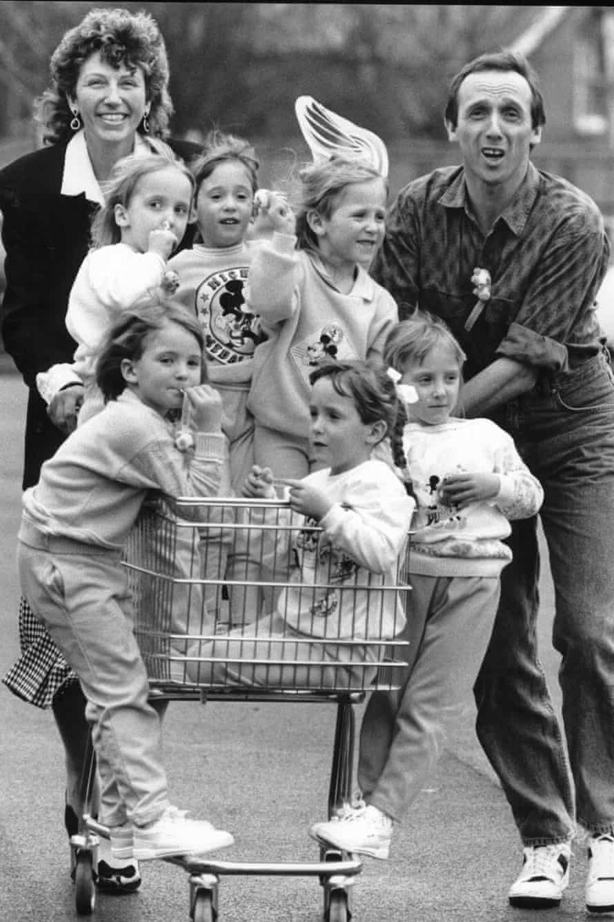 Janet Walton, husband Graham and sextuplets 1988