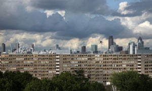 City of London skyline as seen from the Heygate Estate, Elephant & Castle, in south London.