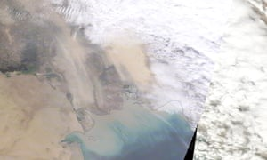 The dust storm sweeping across western Iran earlier today.