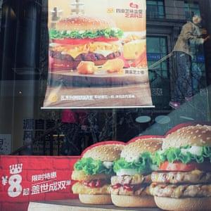 A girl in Burger King in Shanghai