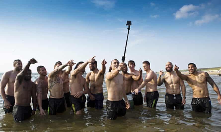 New Zealand's All Blacks in a group selfie