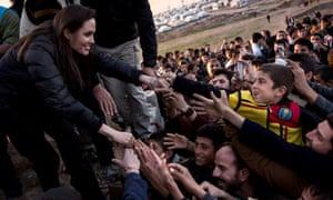Angelina Jolie at UN's Hanke refugee camp