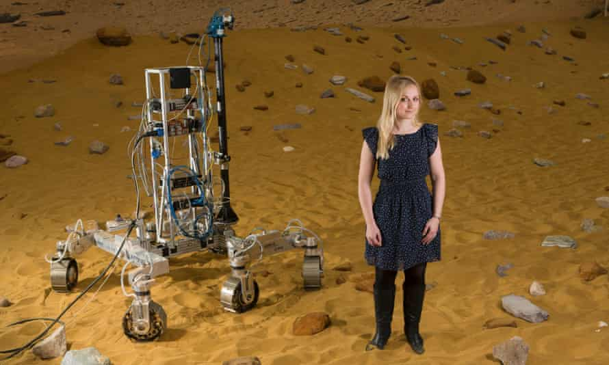 Abbie Hutty, engineer on the ExoMars Rover project  with Bryan the prototype.