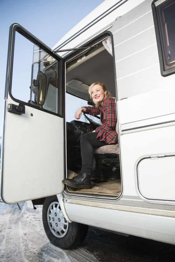 Emma Jane Unsworth in a campervan