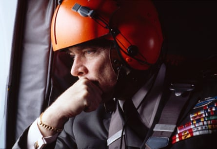 US General Alexander Haig looks out the window during a 1978 helicopter ride.