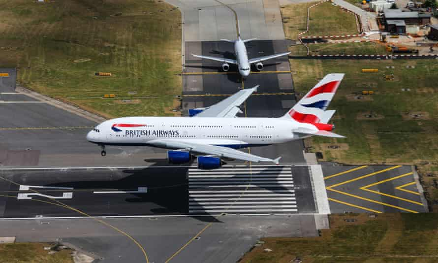 British Airways' first Airbus A380 Superjumbo lands at London Heathrow.