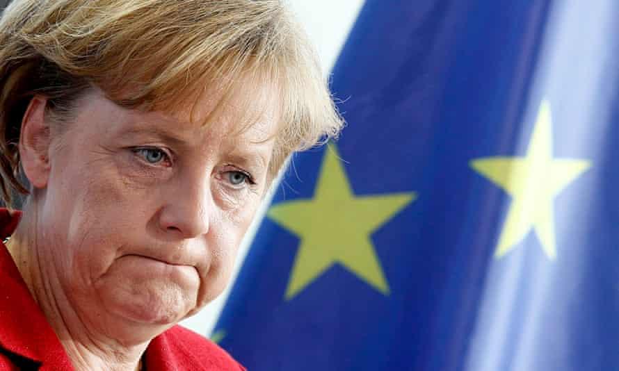 Angela Merkel with an EU flag