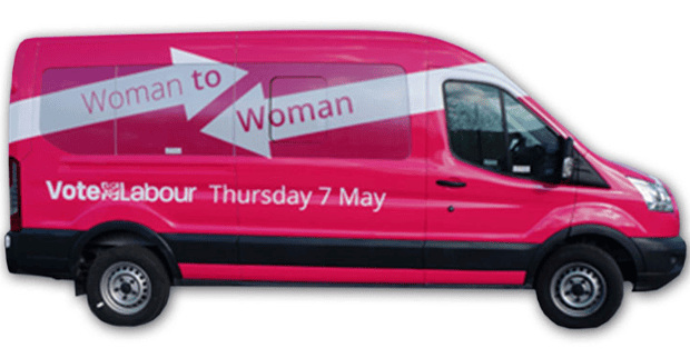 Labour women are touring the country in a pink bus.