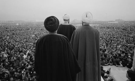 Iranian Shia clerics address crowds of demonstrators in Tehran on 10 February 1979.