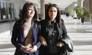 Manon Serrano (right) and her mother Sophie Serrano leave Grasse courthouse.