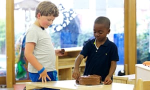 Chaim, Christian and the chocolate cake. Photograph: Katie Hyams/Channel 4