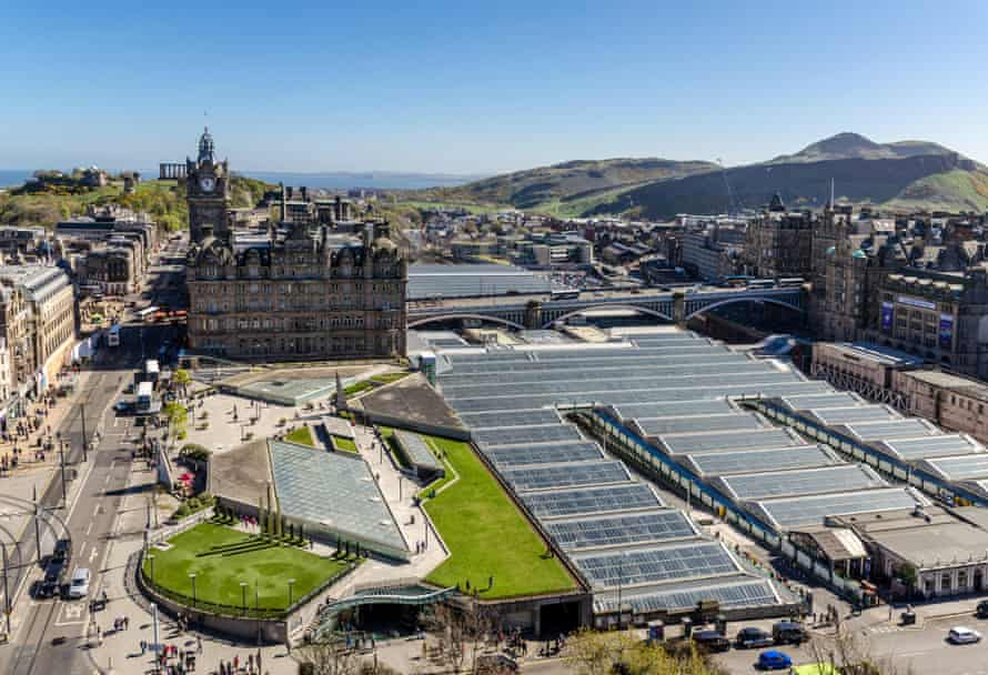Looking east across Edinburgh to the Balmoral Hotel, Waverley station and Arthur's Seat.