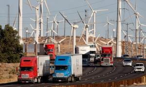 california wind farms trucks cars emissions
