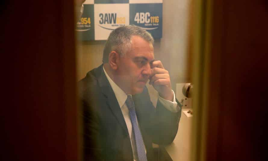 The Treasurer Joe Hockey during on interview in the press gallery of Parliament House this morning, Tuesday 11th February Photograph by Mike Bowers for Guardian Australia. #politicslive