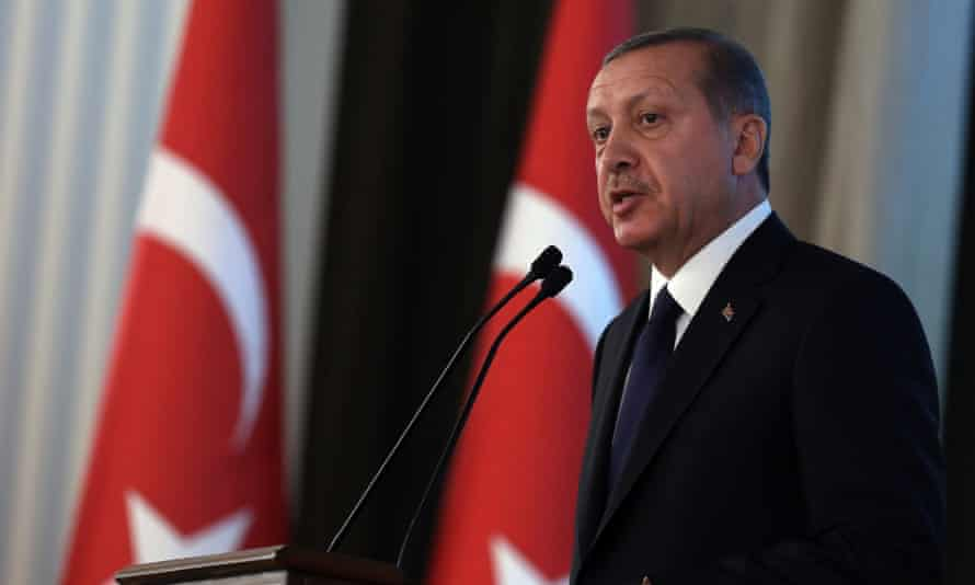 Turkey's new President Recep Tayyip Erdogan speaks during a ceremony at the Cankaya Palace in Ankara. His government has been accused of interfering in judicial independent.<br>
