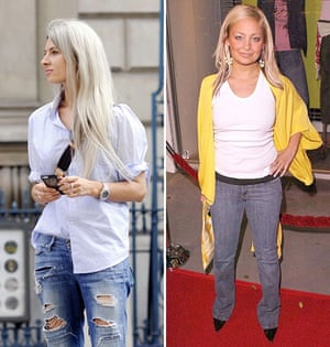 Vogue's Sarah Harris with an untucked shirt over jeans in 2014 and Nicole Ritchie in 2004.